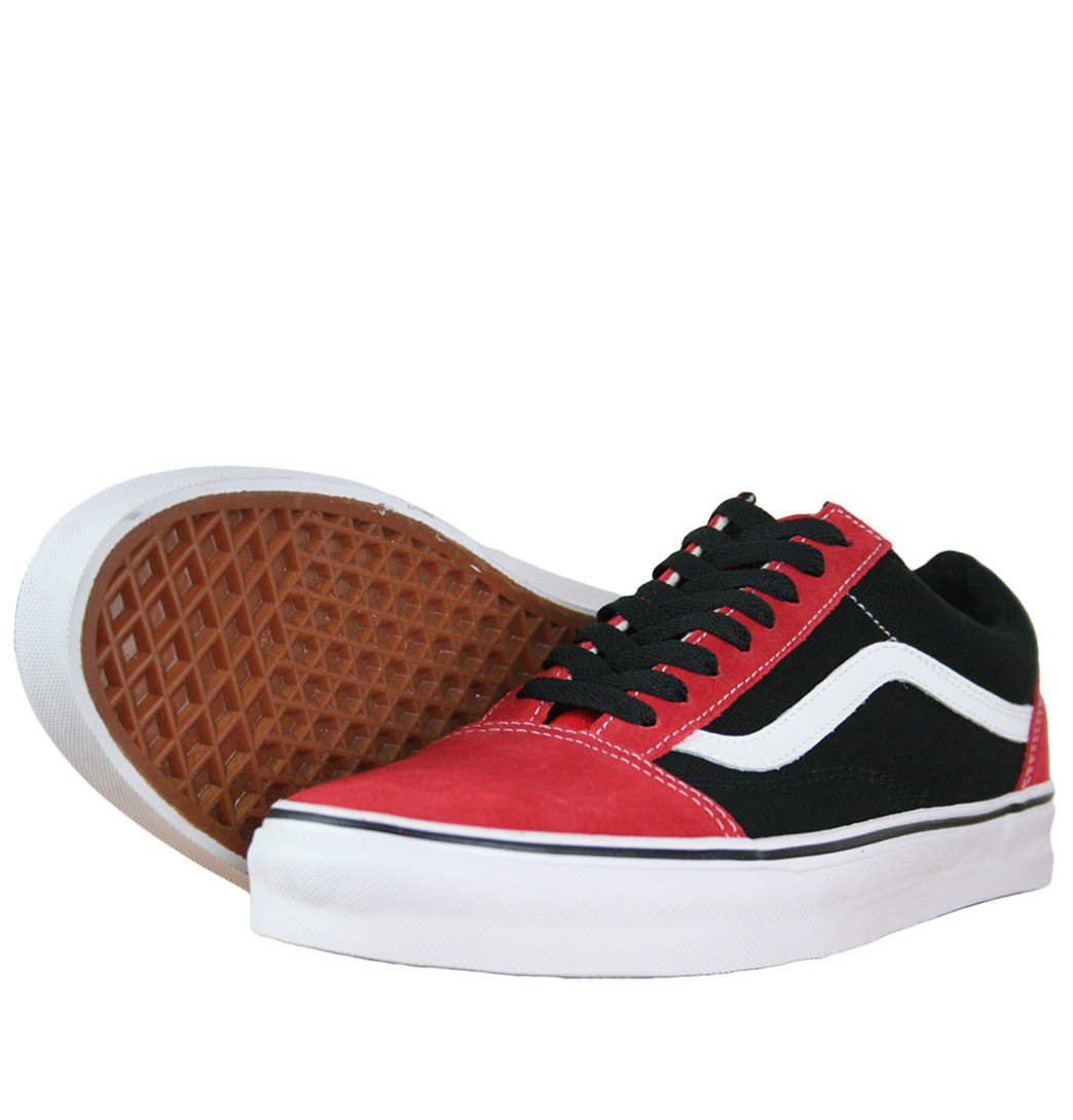 black and red old skool vans