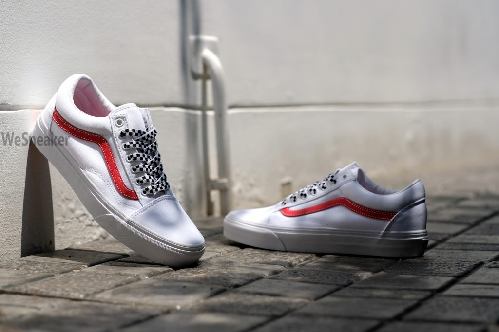 VANS Old Skool (Checkerboard Laces) - True White/Red VN0A3WKT4P : Price 2,800.-
